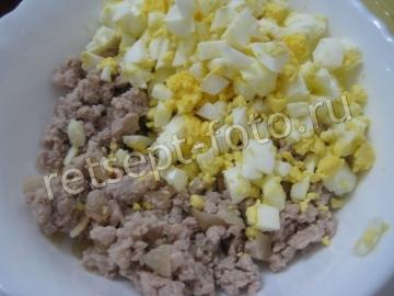 Блины с мясом и яйцом