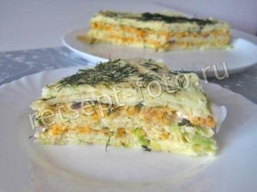 Кабачковый торт с морковью и луком