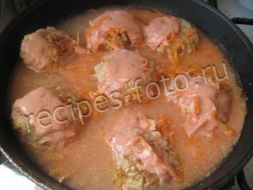 Ленивые голубцы в сметанном соусе рецепт с пошагово на сковороде
