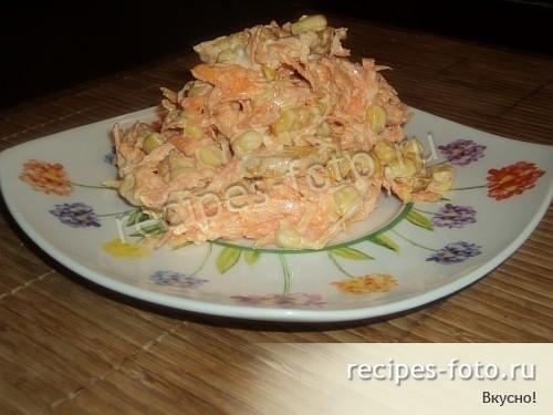 Салат из свежей моркови с чесноком и майонезом