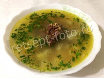 Суп из говядины с гречкой