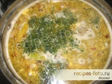 Суп с рисом и рыбной консервой