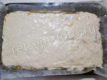 Заливной пирог с капустой на кислом молоке