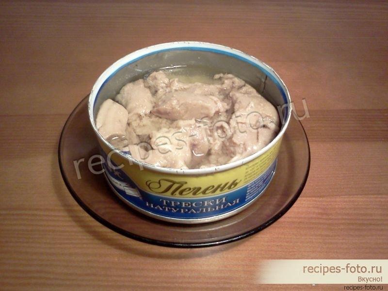 млоеный трески с солеными и с Салат печенью огурцами картошкой