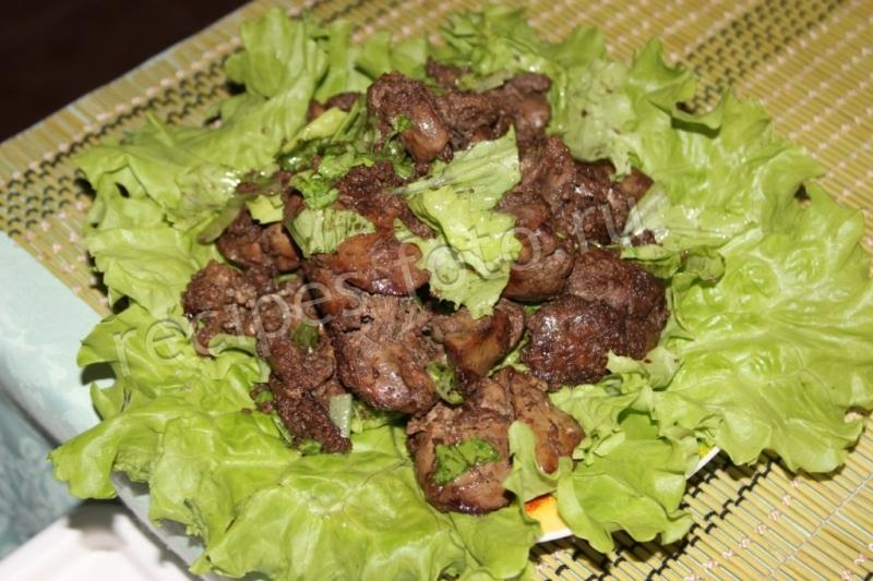 Простой салата из свиной печени