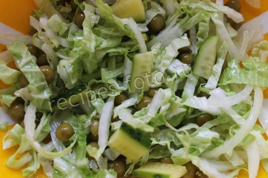салат из горошка и капусты пекинской капусты