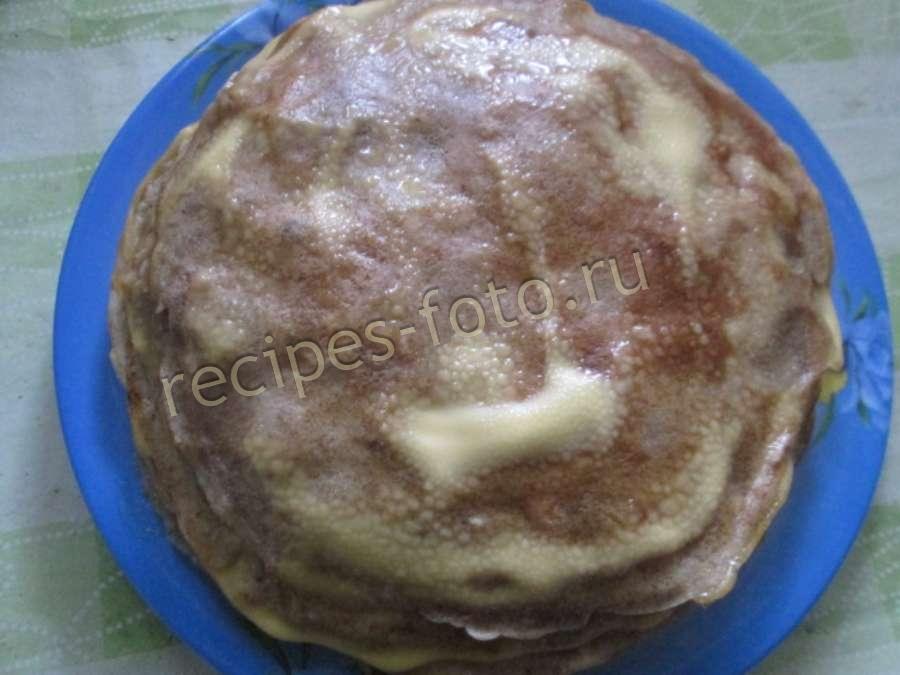 Печеночный торт без молока с фото пошагово в