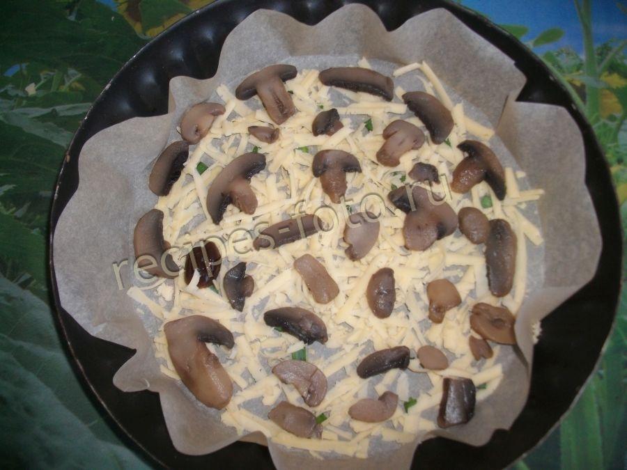Пирог с сыром и грибами на кефире рецепт
