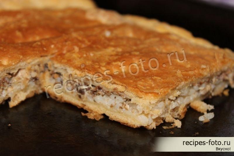 Пирог с сайрой и рисом слоеное тесто рецепт с