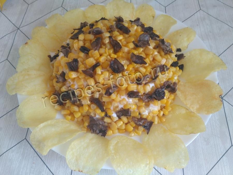 Салат подсолнух с кукурузой рецепт классический