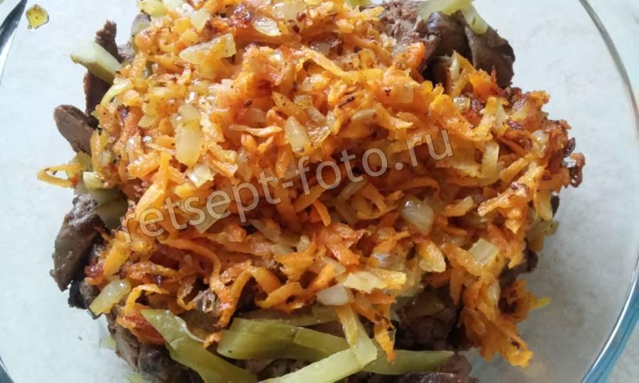 Салат из куриной печени и соленым огурцом рецепт с 50