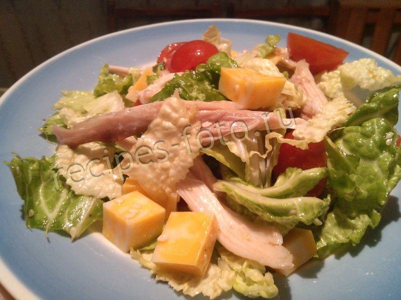 Рецепт салата капуста курица сыр