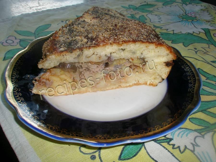 Дрожжевой пирог с мясом и картошкой - пошаговый рецепт с фото на Повар.ру