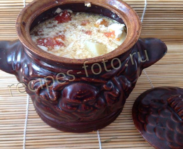 рецепт горшочков в духовке с мясом и картошкой и сыром