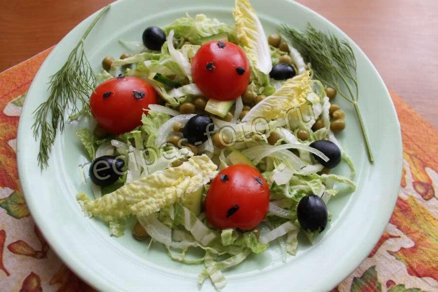 овощной салат рецепт с горошком и огурцом