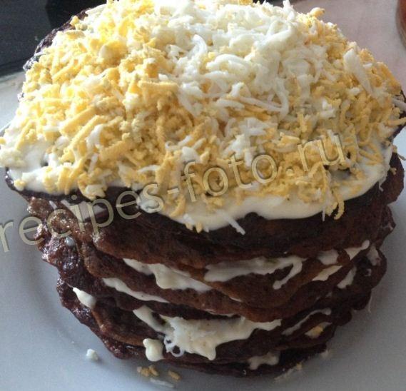 печеночный торт из свиной печени без молока рецепт с фото пошагово