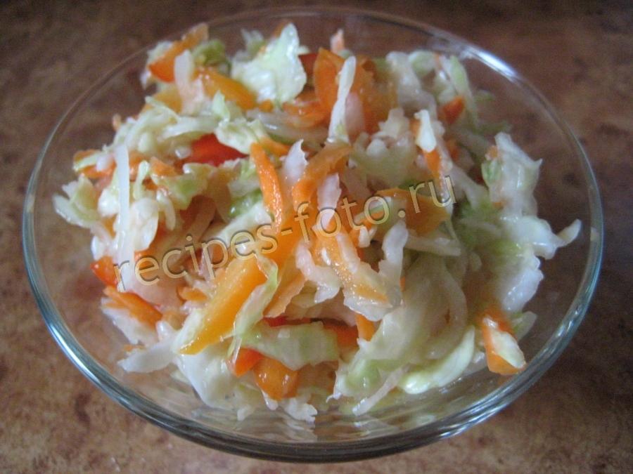 салат из капусты с болгарским перцем в маринаде быстрого приготовления