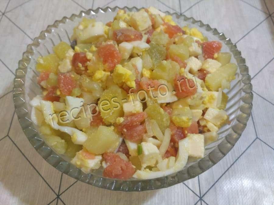 салат с красной рыбой и картофелем рецепт с фото