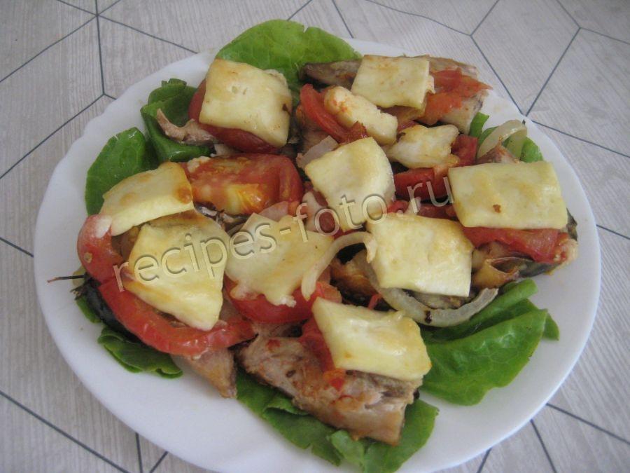 скумбрия с сыром и помидорами запеченная в духовке