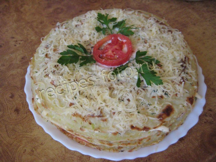 Кабачковый торт с сыром и помидорами рецепт с пошагово