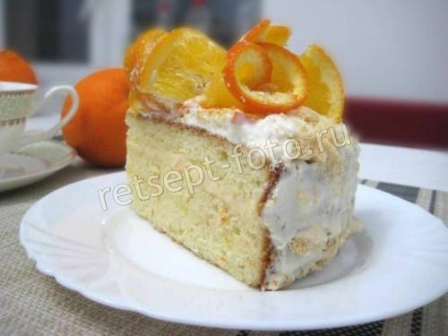 Бисквитный апельсиновый торт со сгущенкой