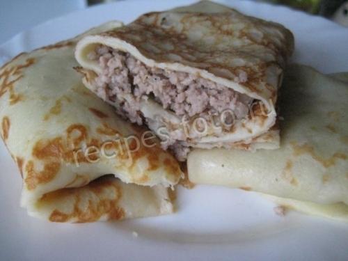 Блины с мясом на кефире рецепт с пошаговым
