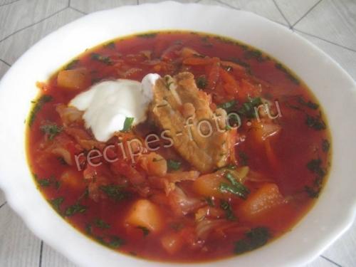 Борщ рецепт классический с со свининой пошаговый рецепт с