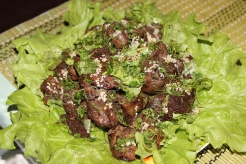 рецепт печень с грибами салат рецепт с фото