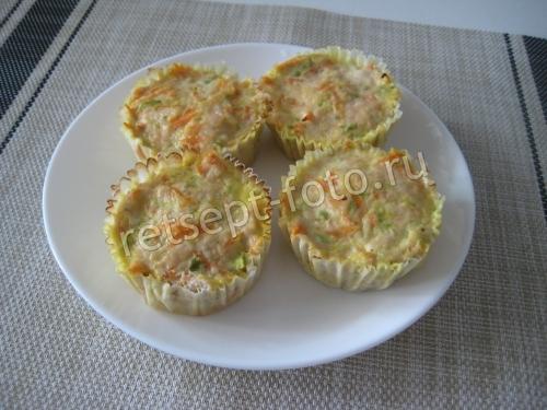 Куриные котлеты с кабачком в формочках для кексов для детей 1,5 года