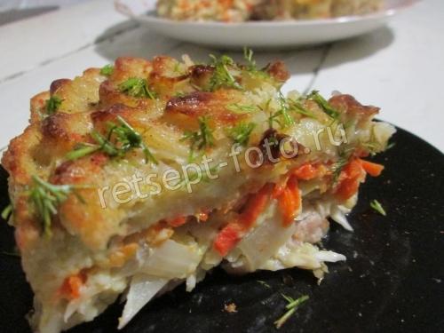Овощной пирог с курицей