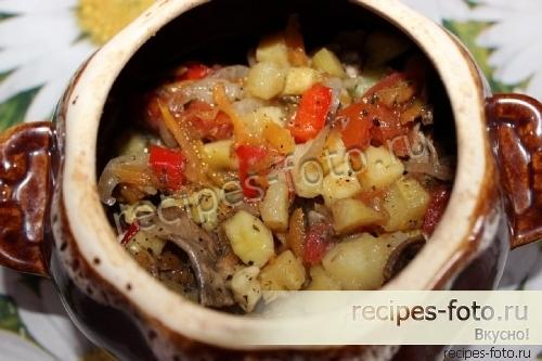 в духовке мясо с картошкой и баклажанами рецепт с фото в
