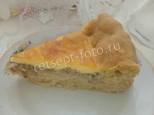 Пирог с мясом на сыворотке без дрожжей