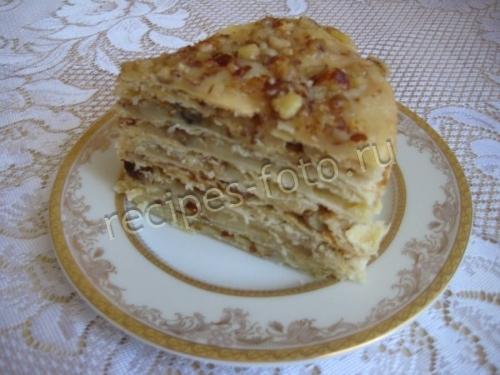 """Торт """"Наполеон"""" с орехами и заварным кремом"""