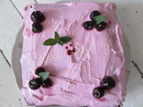 Торт из манной крупы с творожным кремом и вареньем
