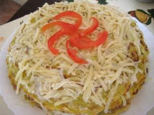 Кабачковый торт с сыром и помидорами