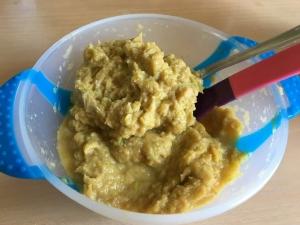Пюре из трески, риса и овощей с перепелиным яйцом детям от 1 года