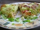 Кабачковый блин с начинкой из колбасы и сыра