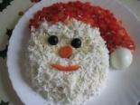 """Новогодний салат """"Дед мороз"""" с крабовыми палочками"""
