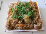 Овощное рагу с фаршем и кабачком
