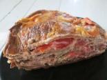 Печеночный торт с овощной начинкой в духовке