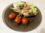 Перепела в сметане с грибами и курагой в духовке