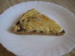 Пирог с грибами, сыром и сметанной заливкой