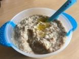Пюре из гречки, сосисок и перепелиного яйца детям от 2-х лет