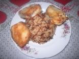 Рис с макаронами и рыбой в кляре