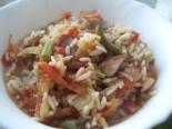 Рис с замороженными овощами и мясом
