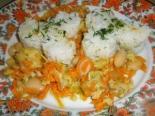 Рыба с овощами и фасолью (рыбное рагу из хека)