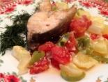 Рыба запеченная в йогурте с овощами без майонеза