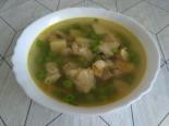 Рыбный суп из хека с зеленым горошком