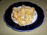 Салат из куриных сердечек с фасолью и морковью