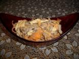 Салат из печени свиной с яичными блинчиками